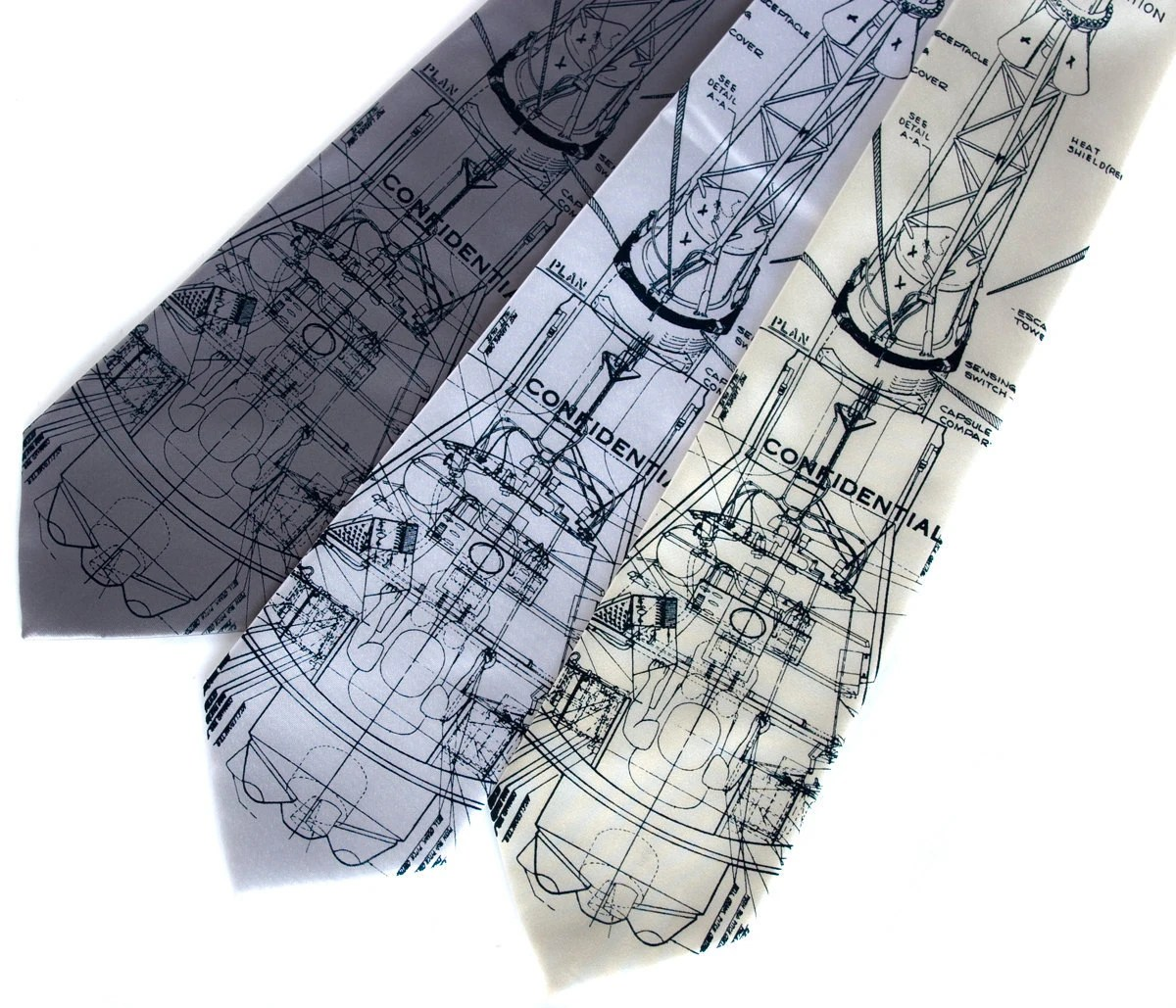 "Rocket blueprint necktie, Mercury spacecraft. ""Rocket Science II"" men's tie. Navy screen print."