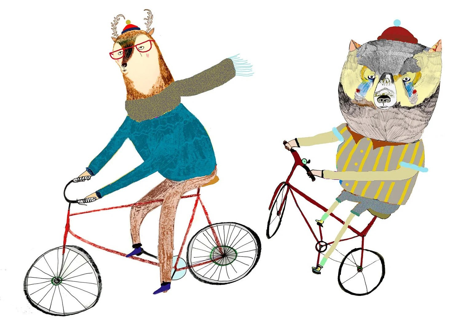 The Cyclists. limited edition art print by Ashley Percival. Children's Wall art and Nursery Art.