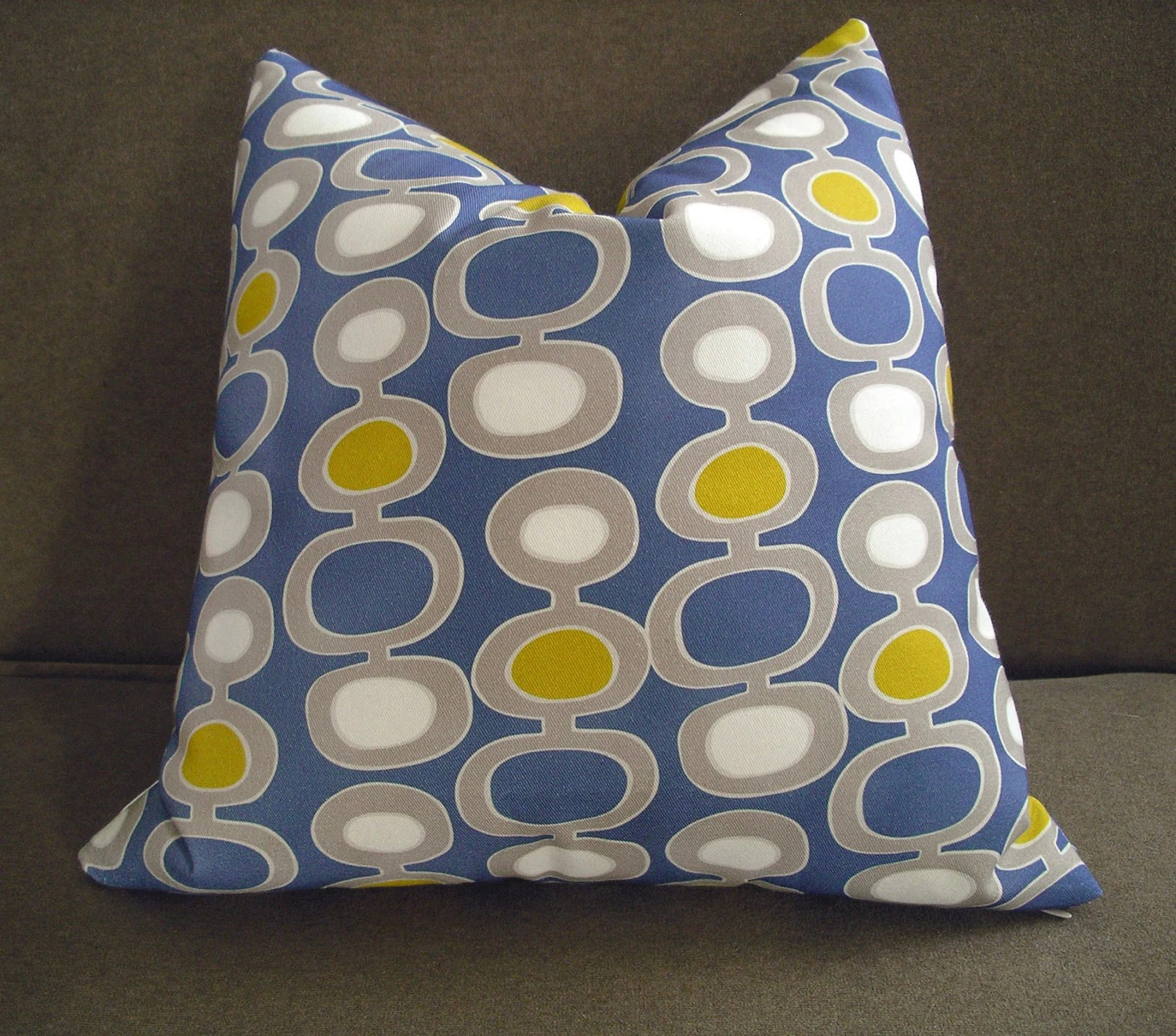 Mid-Century Modern Blue Pillow Cushion Cover 16 x 16