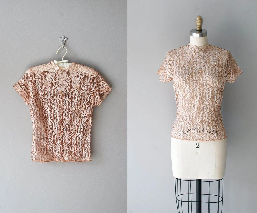 lace blouse / 40s lace top / blush lace / Cachet blouse
