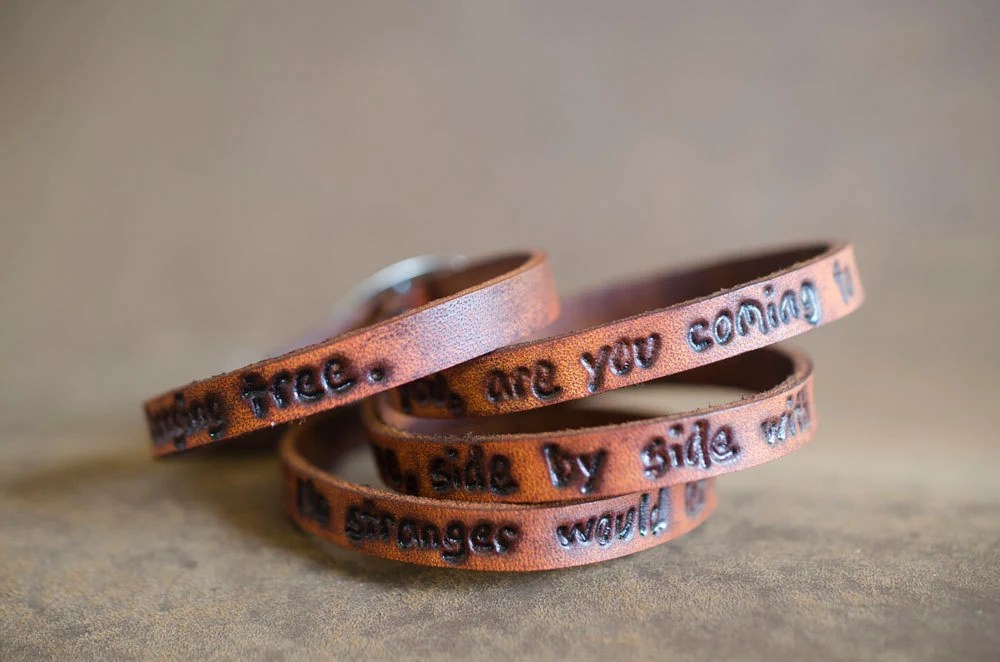 Hanging Tree Hunger Games Quote on Ultra Long Leather Wrap Bracelet