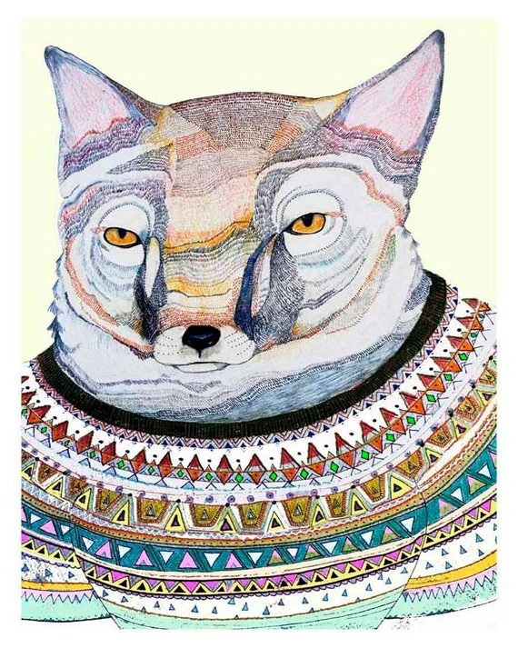 Art print. Fox in Jumper. Limited Edition art print by Ashley Percival. Fox Art Print.