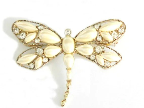 Vintage Dragonfly Brooch - 1940's Monet Pin