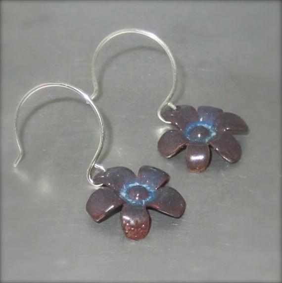 Enameled Purple and Blue Earrings - By Beth Millner