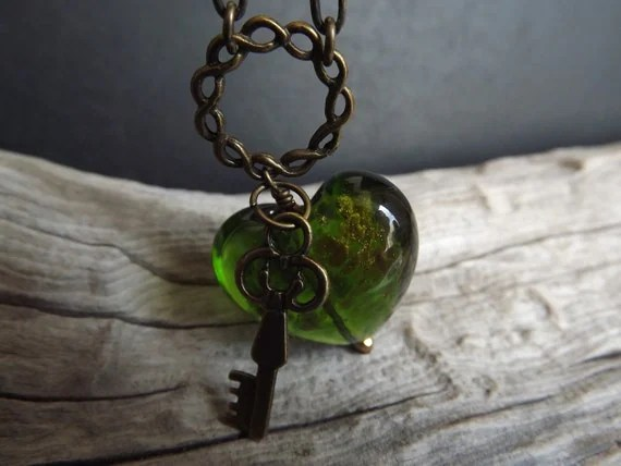 Lampworked Emerald Green Heart and Brass Key on Brass Chain