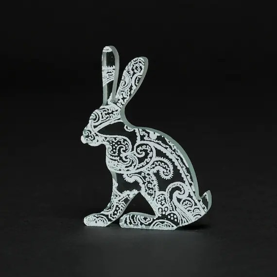 Paisley Hare Glass White Sculpture Animal Screen Printed Enamel
