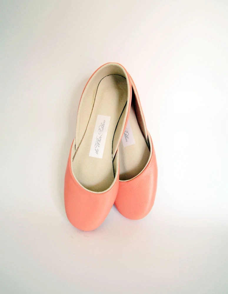 new. Soft leather ballet flats. Coral.