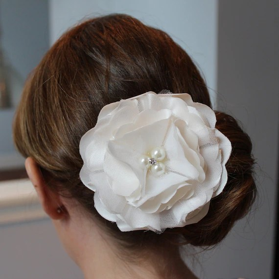 Ivory Silk Satin and Tulle Hydrangea Hair Flower with Pearl and Crystal Center