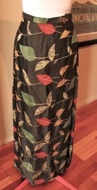 Vintage Late 1940s Black Satin Brocade 'Autumnal' skirt