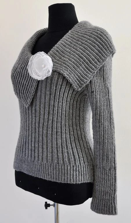Gray Cozy Warm Hand Knit Sweater