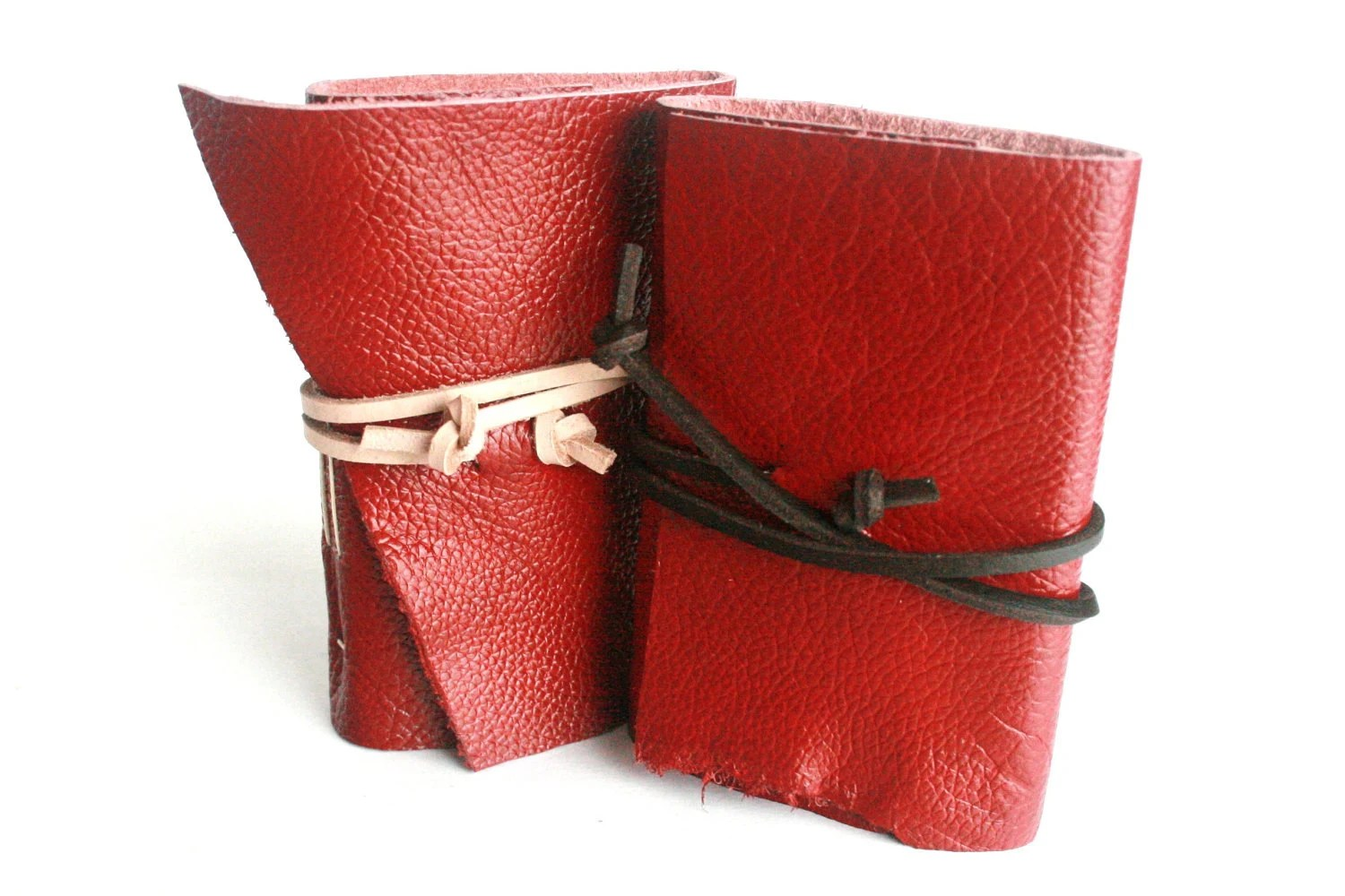 Leather Journal Gift Set, Shiny Red 3 x 4.5 Journals by The Orange Windmill