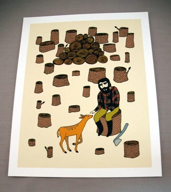 Lumberjack and fawn print