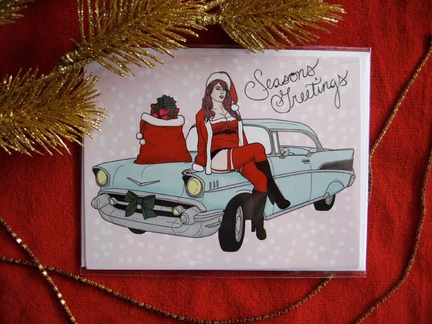 Holiday Christmas Pin Up Girl Art from Scarlet Tentacle