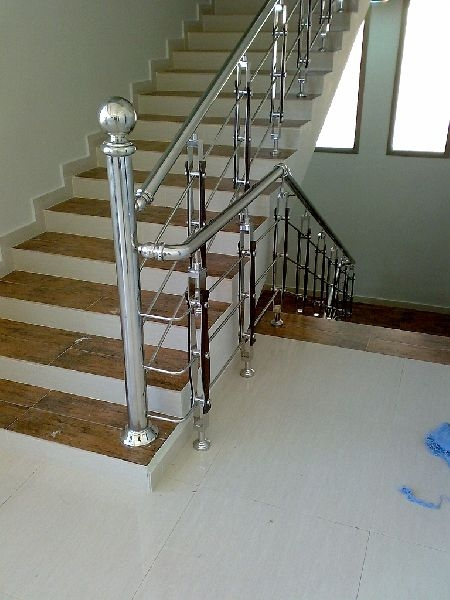 Stainless Steel Stair Railing Manufacturer In Gurgaon Haryana   Steel Steps For Stairs   Chequer Plate   Fabricated   Wire Mesh   Prefabricated   Corrugated Metal