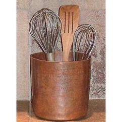 Copper Kitchen Utensil Holder Reclaimed Wood Shelves Hammered Chef Jar Findgift Com