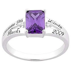 Personalized Emerald Cut Birthstone School Class Ring