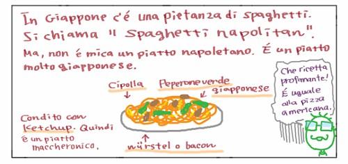"""In GIappone c'e' una pietanza di spaghetti. Si chiama """"Spaghetti napolitan"""". Ma, non e' mica un piatto napoletano. E' un piatto molto giapponese. Condito con ketchup. Quindi e' un piatto maccheronico. Cipolla, peperone verde giapponese e wurstel o bacon. Che ricetta profanante! E' uguale alla pizza americana."""