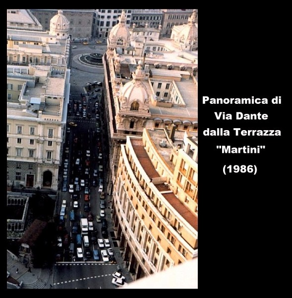 Panoramica di via Dante dalla terrazza Martini 1986  Genova nuova