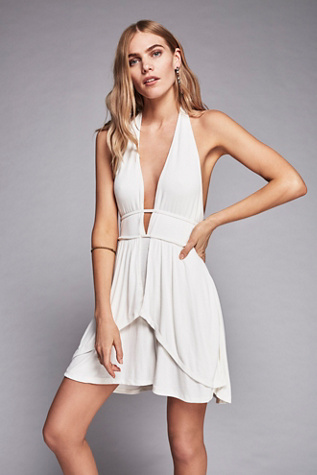 Free People Nwt Fp Beach Flare Ribbed Halter Plunging Mini