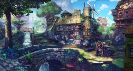 Download wallpaper House Fantasy Nature Wood Village Forest Painting Fairy Middle Age section painting in resolution 4600x2466