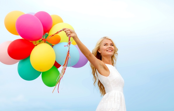 Laughing Girl Wallpapers Free Download Wallpaper Girl Balls Joy Happiness Balloons Colorful