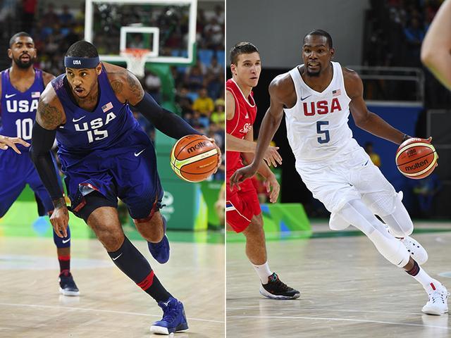 甜瓜KD共享美國男籃年度最佳男運動員獎_NBA中國官方網站