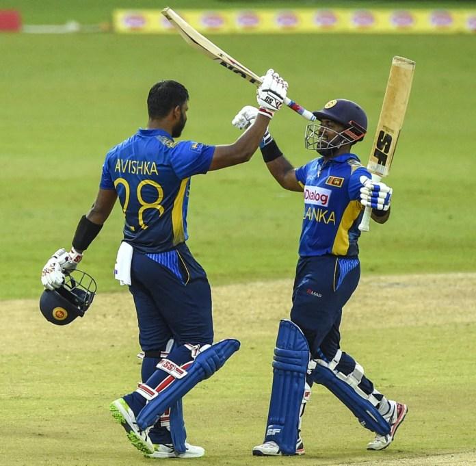 Avishka Fernando celebrates his century with Charith Asalanka, Sri Lanka vs South Africa, 1st ODI, Colombo, September 2, 2021