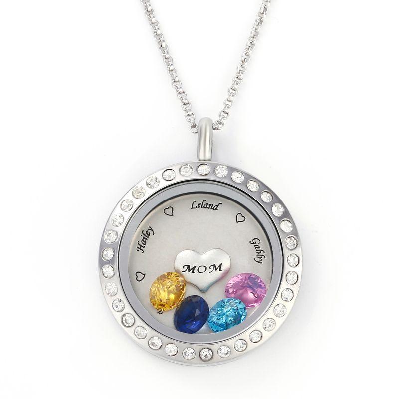 engraved floating locket necklace