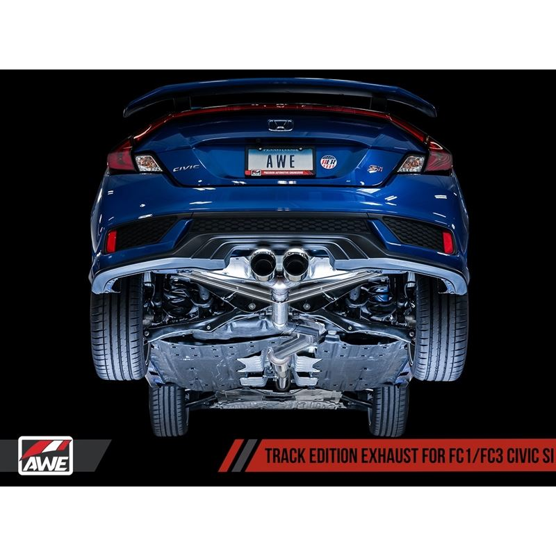 awe tuning 2016 honda civic si track edition exhaust w front pipe dual chrome silver tips