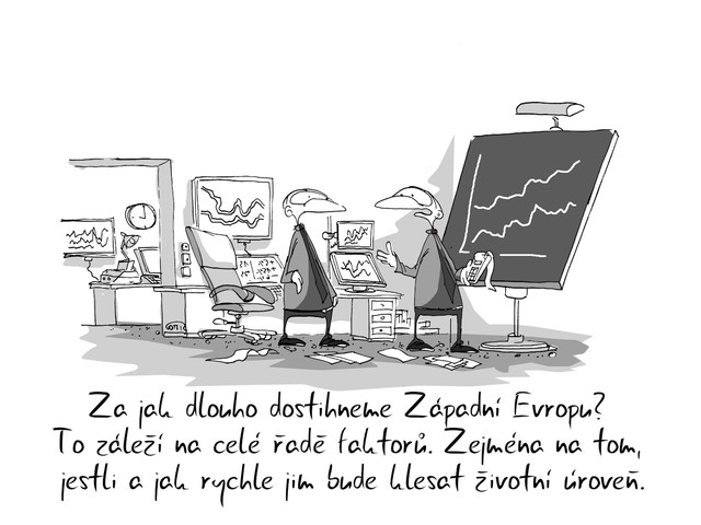 Kreslený vtip: Za jak dlouho dostihneme Západní Evropu? To záleží na celé řadě faktorů. Zejména na tom, jestli a jak rychle jim bude klesat životní úroveň. Autor: Marek Simon