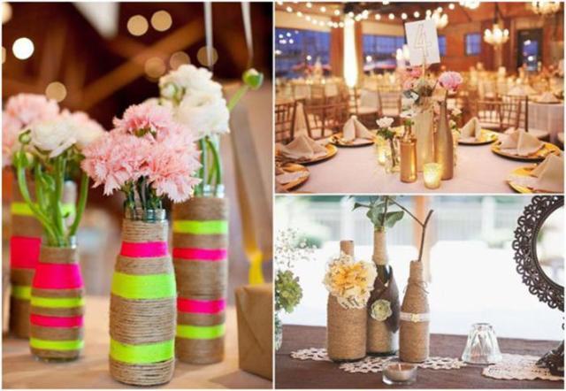 10 идей использования пустых бутылок в качестве декора для свадебного стола