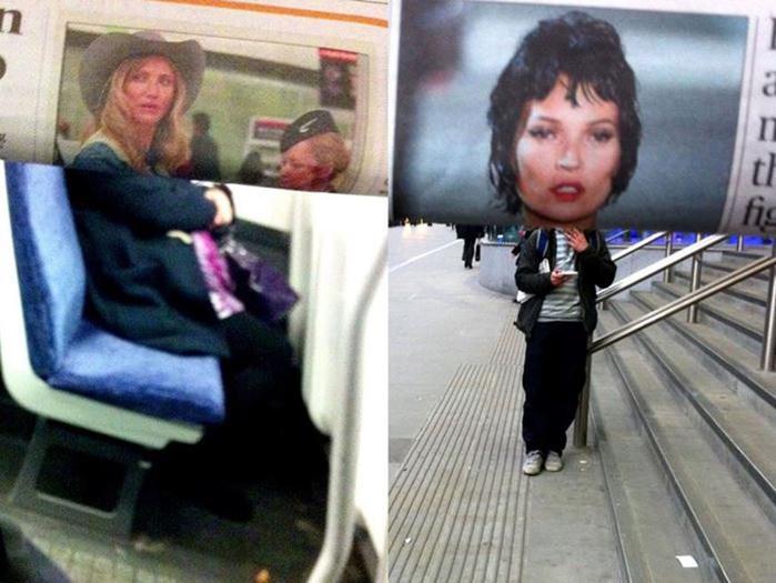 «Коллажи»: пассажиры в общественном транспорте и знаменитости в журналах