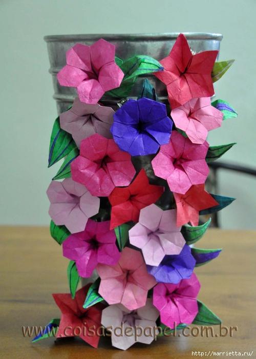 Цветы оригами из бумаги. ВЬЮНОК (5) (500x700, 237Kb)