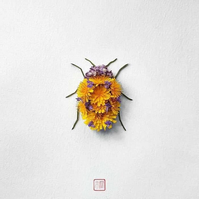 Насекомые из цветов от канадского художника