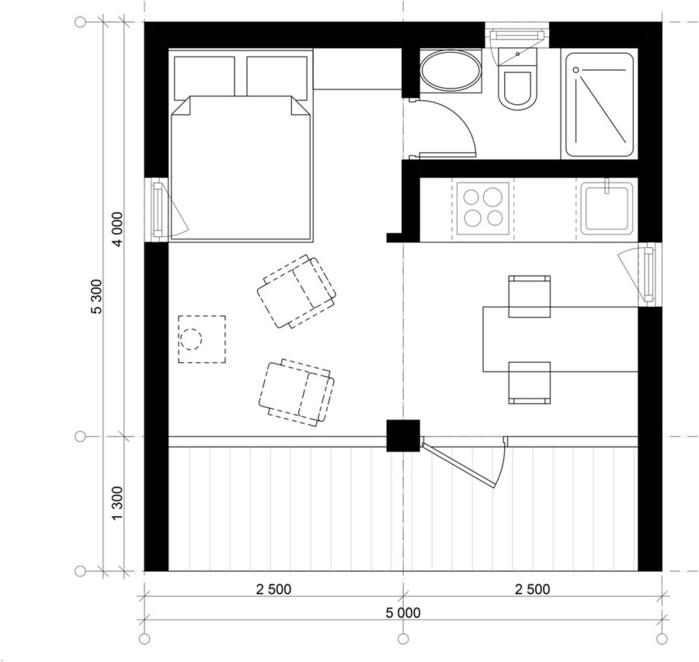Модульный дом площадью 16 квадратных метров