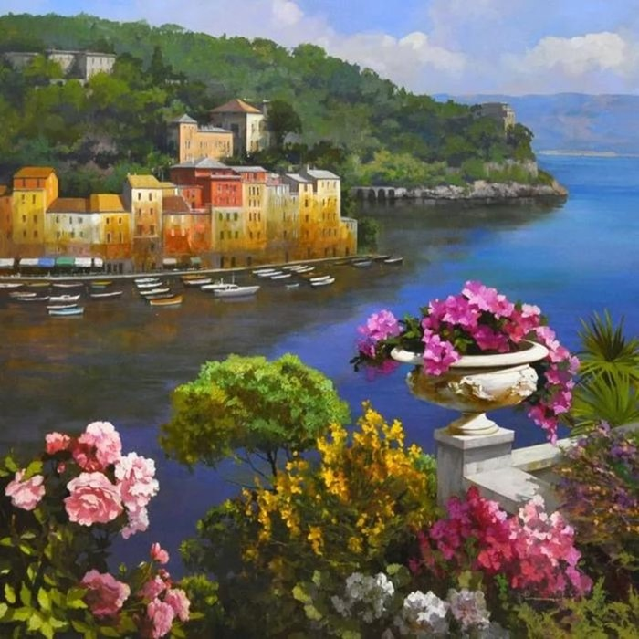 Итальянский художник Спартако Ломбардо   яркий южный пейзаж