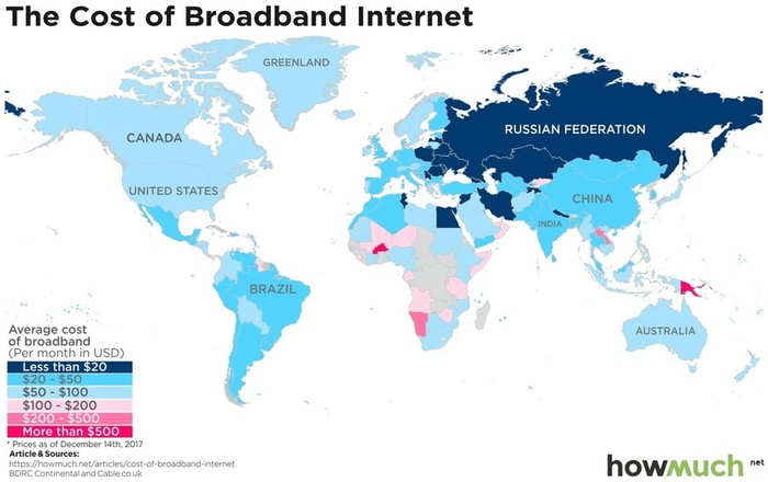 Цена интернета во всем мире