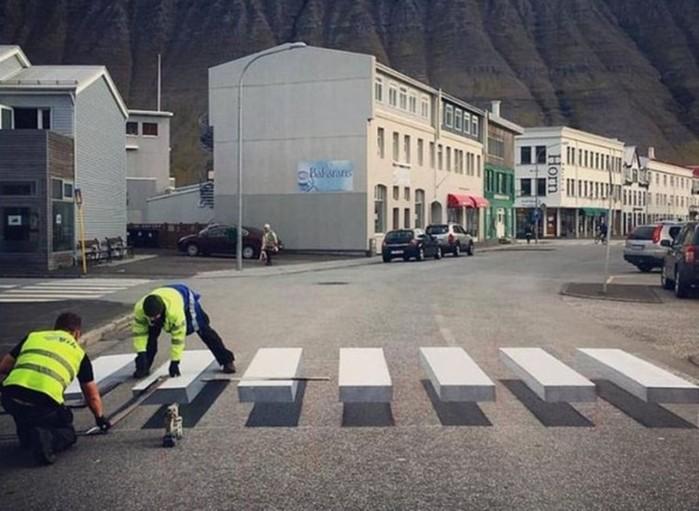 Как 3D зебра не дает водителям сбивать пешеходов