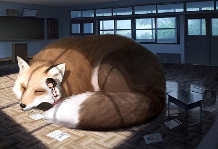 Японский иллюстратор представляет мир, в котором люди живут среди гигантских животных