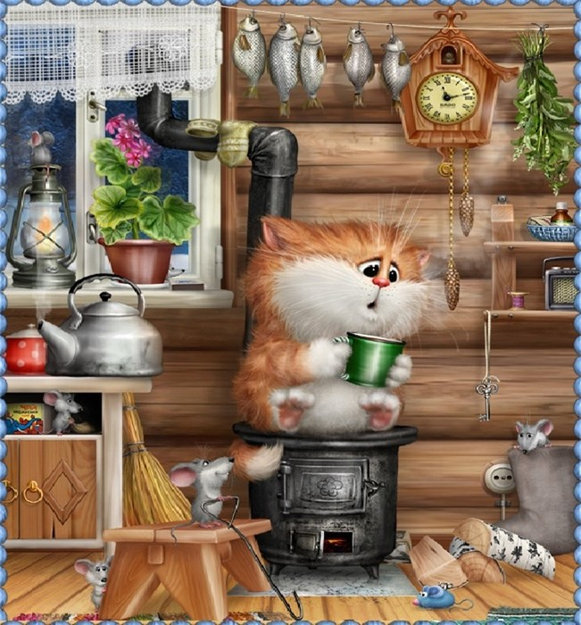 Забавные иллюстрации о жизни веселых котов