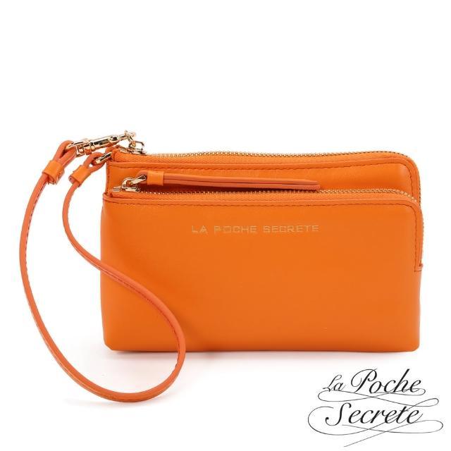 【La Poche Secrete】簡約風格真皮質感雙層L型拉鍊手拿包(魅力橘)