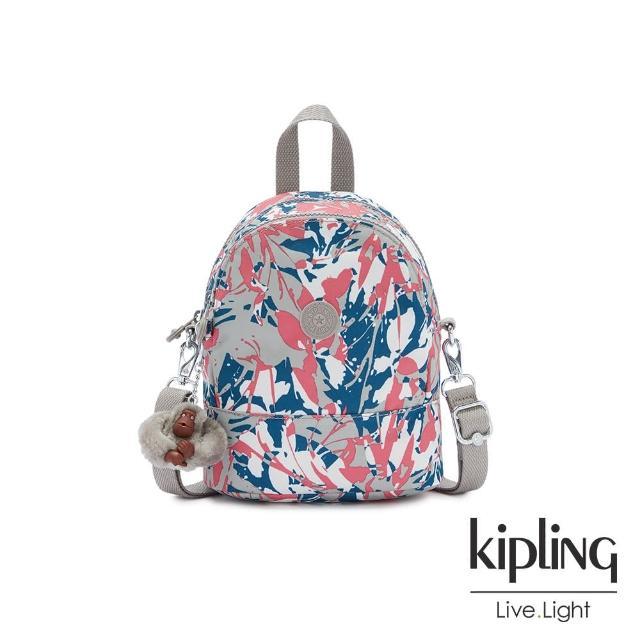 【KIPLING】碰撞魅力潑墨隨身兩用斜背包-IVES MINI