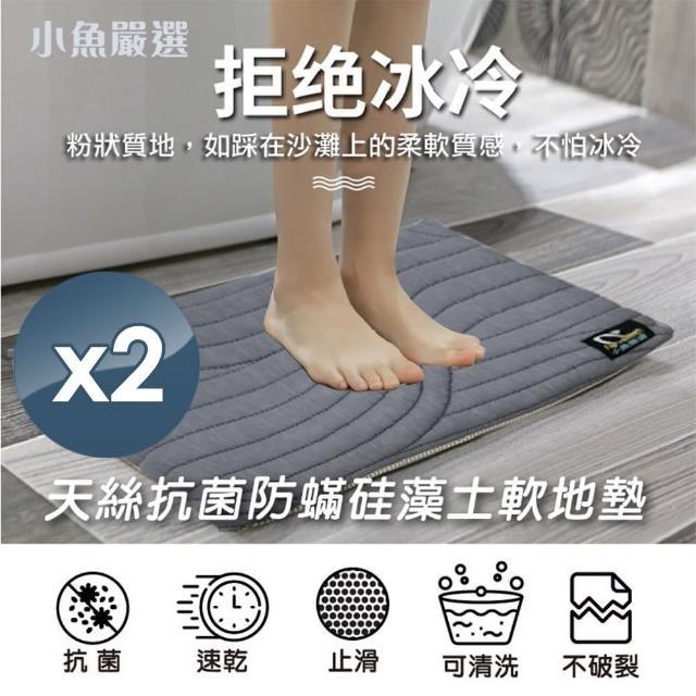 【小魚嚴選】台灣製天絲防蹣硅藻土軟地墊加大加厚版2組(天絲、台灣製造、2組)