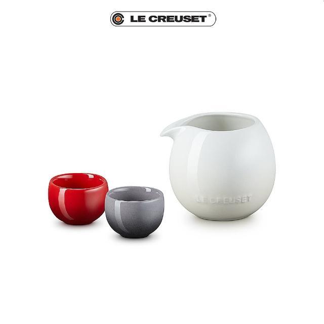 【Le Creuset】花蕾系列清酒壺組-一壺二杯(壺-蛋白霜/杯-櫻桃紅/燧石灰)