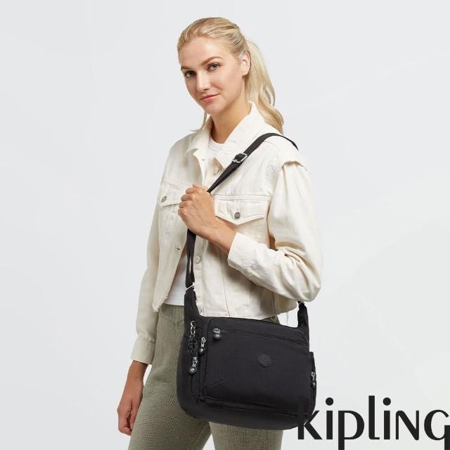 【KIPLING】經典深黑色多袋實用側背包-GABBIE
