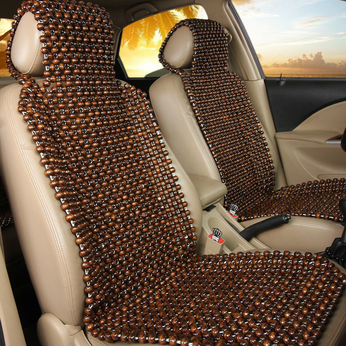 Massage Chair Cover Natural Wood Wooden Beaded Seat Cover Massage Cool
