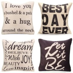 Oversized Leather Sofa Nc How To Make A Slipcover For Cushion Favorable Square English Letter Cotton Linen Pillow Case ...