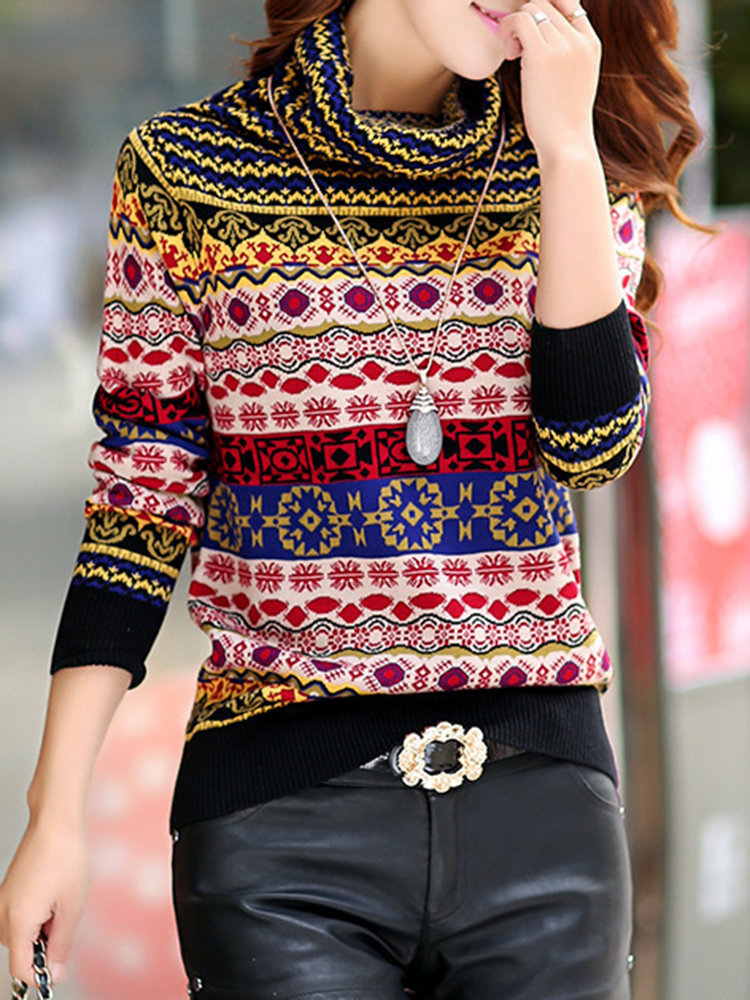 Casual Geometric Patterns Long Sleeve Turtleneck Sweater For Women