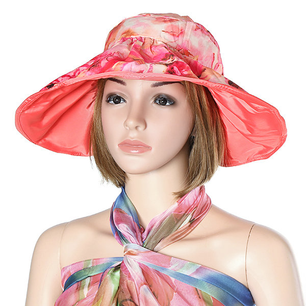 Women Summer Beach Sun Protective Foldable Hat Outdoor Driving Anti-UV Wide Brim Visor Cap
