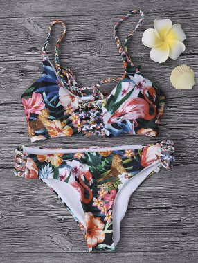 Sexy Flower Bathing Suits Hollow Criss-cross Back Lace Up Swimwear